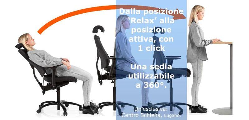 sedia ufficio ergo 360, centro schiena, lugano